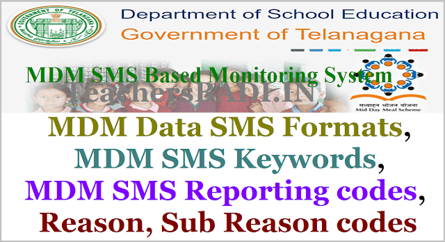 MDM Data SMS Formats,Keywords,Reporting codes,Reason codes for MDM Monitoring