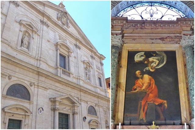 Fachada de San Luigi dei Francisi en Roma y cuadro San Mateo y el Ángel de Caravaggio