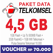 Telkomsel Data Internet Up To 4.5GB (Simpati, Kartu AS, Loop ), 24jam