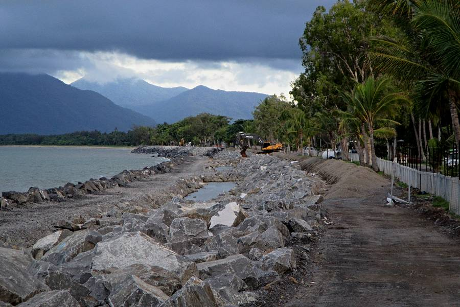 View of seawall construction