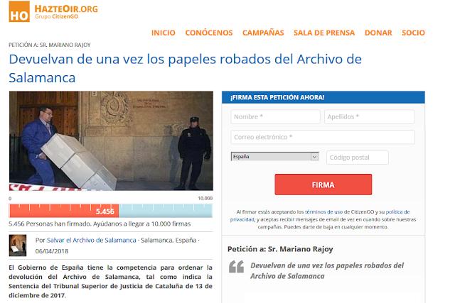 Firma para que Mariano Rajoy devuelva los archivos de todos