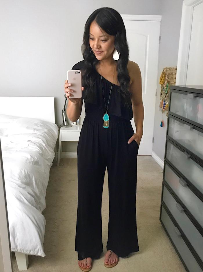 black jumpsuit + turquoise accessories
