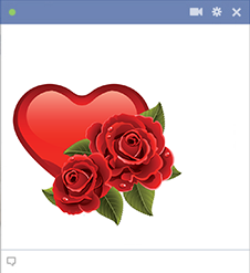 Heart and roses sticker for Facebook