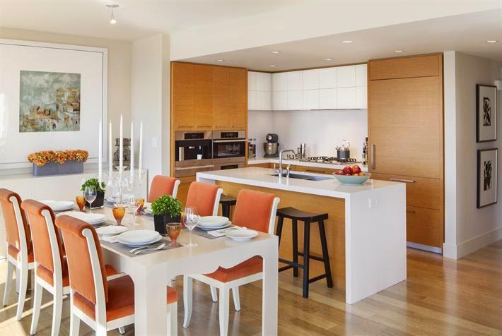 Una peque a cocina abierta y multifamiliar cocinas con for Cocina comedor pequena