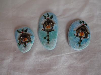 piedras pintadas de navidad