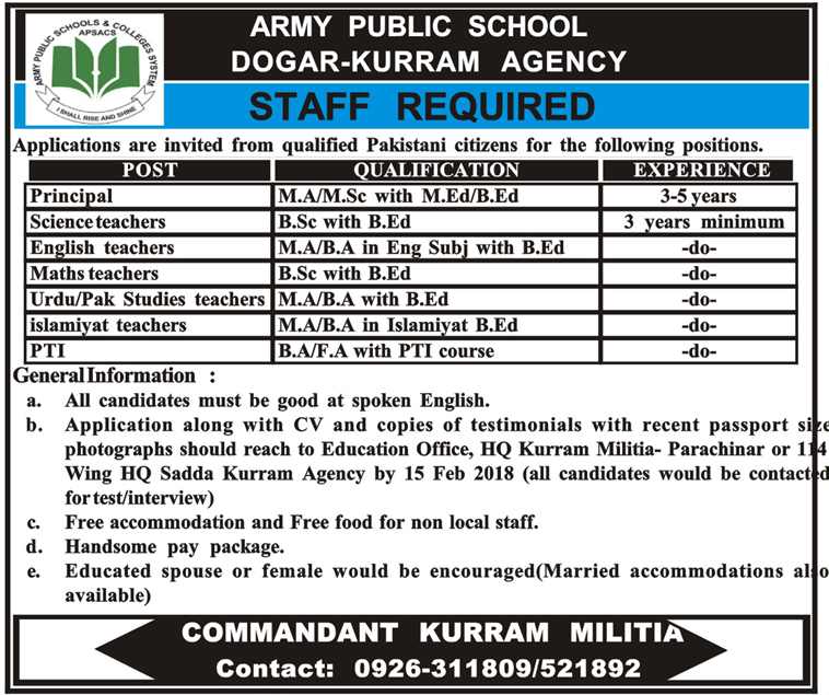 Jobs In Army Public School 2018 for 7 Posts