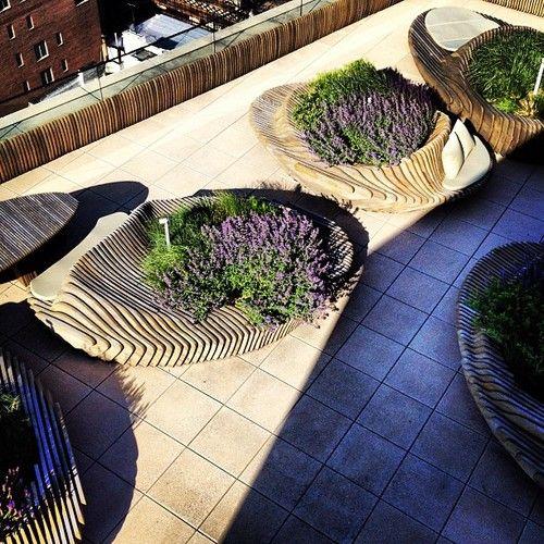 design parametric, plywood banca, jardiniera parametrica, plante, lemn lamelar debitat plante, gradina panel, peisagist