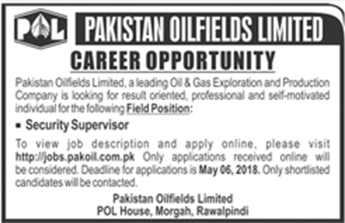 Jobs In POL Pakistan Oilfields Limited May 2018 Apply Online