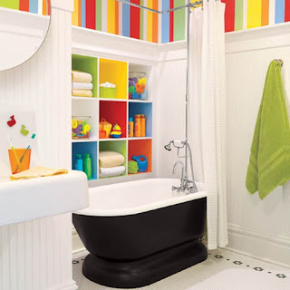 colourful kids bathroom paint colour mixed with black white free standing bathtub plus round frame less mirror