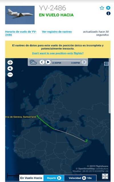 Avión de Pdvsa sale de Suiza y se moviliza a los Emiratos Árabes