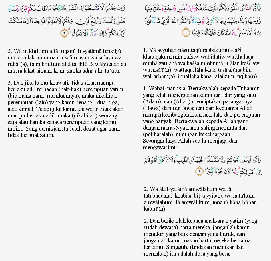 Tajwid Surat An Nisa Ayat 1 3 Masrozak Dot Com