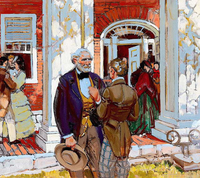 a Dean Cornwell color illustration of 1800s social talk