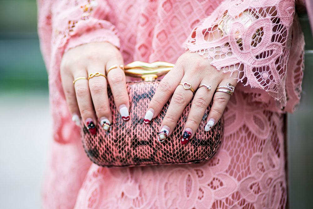 Crystal Phuong- Revolve Clothing x Tularosa pink lace dress- DVF snake print clutch