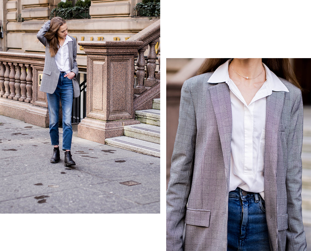monday-outfit-jeans-and-white-shirt-check-blazer-fashion-blogger