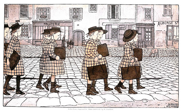 Bernard Boutet de Monvel  pre-1945 illustration of students in procession
