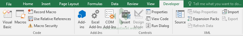 TAB Developer Pada Excel