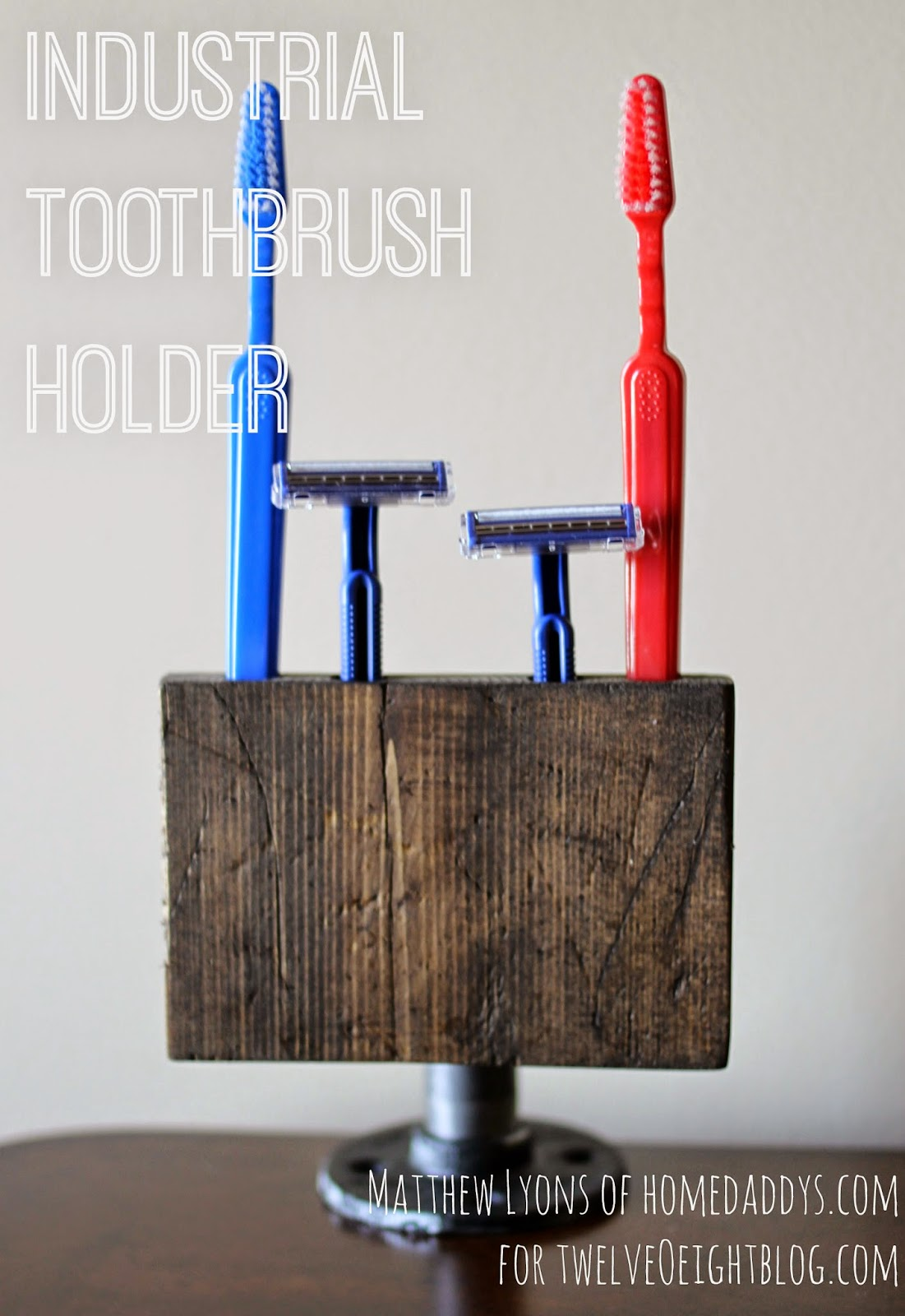 Industrial wood + pipe toothbrush holder on Decorative Sconces Don't Need Electric Toothbrush id=54922