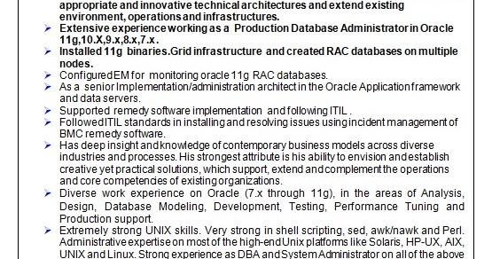 senior oracle database administrator sample resume format