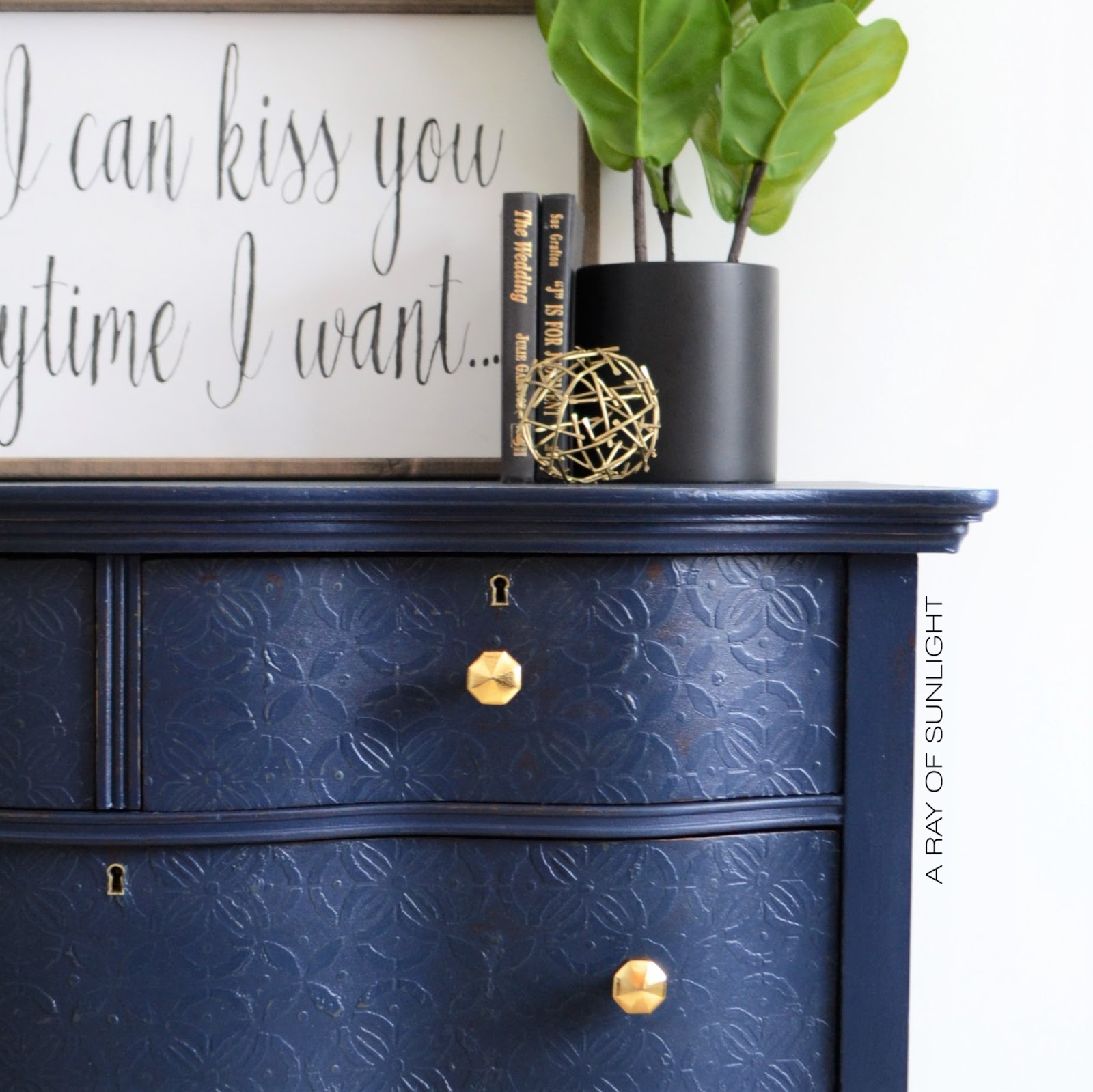 Navy Blue Dresser with Embossed Drawers