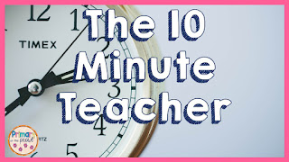 picture of a clock with words 10 minute teacher