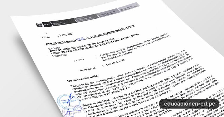 OFICIO MÚLTIPLE N° 003-2018-MINEDU/VMGP-DIGEDD-DITEN - Precisiones Otorgamiento CTS a favor de Auxiliares de Educación Contratados - www.minedu.gob.pe