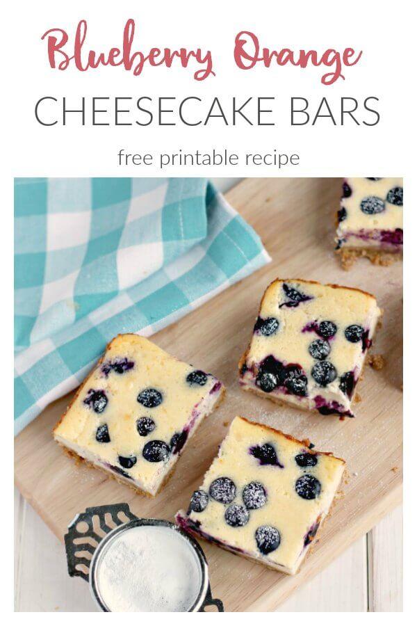 Blueberry Orange Cheesecake Bars