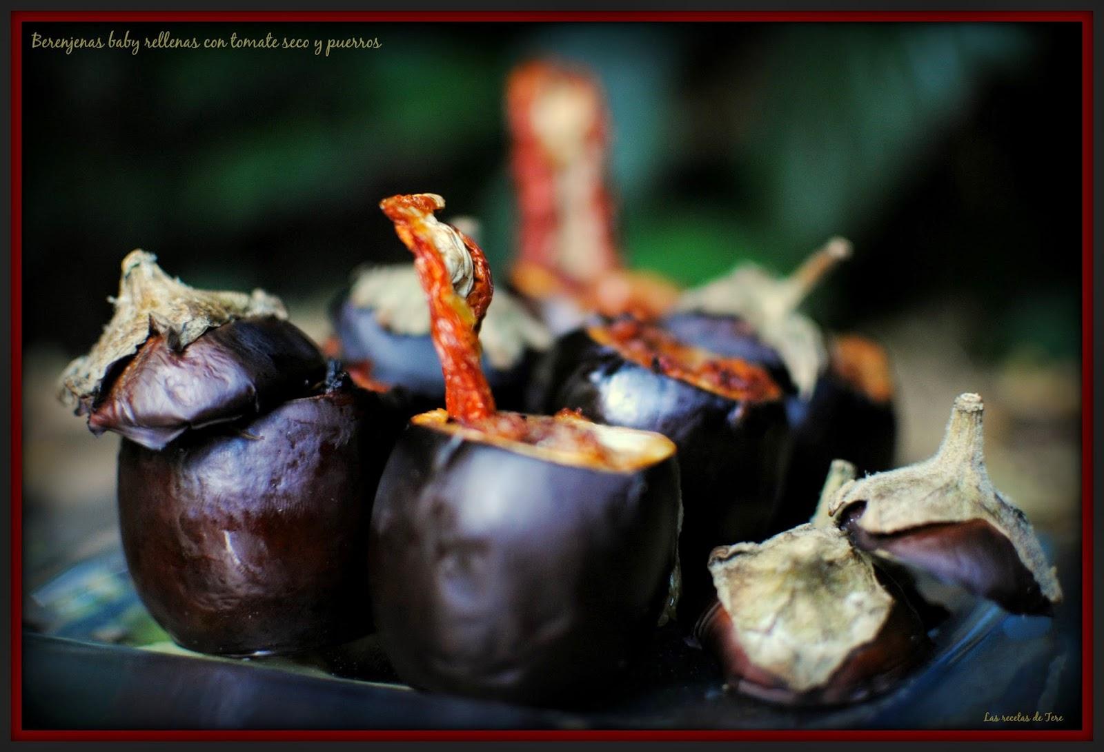 Berenjenas baby rellenas con tomate seco y puerros 06