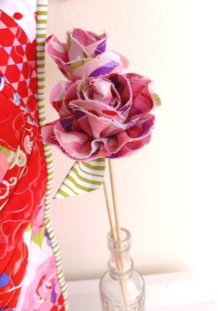 Long stemmed fabric roses for decor