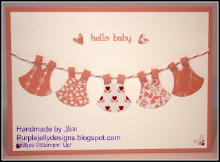 New arrival, baby girl, card, Stampin' Up! Jillian Selwood, Purple Jelly Designs