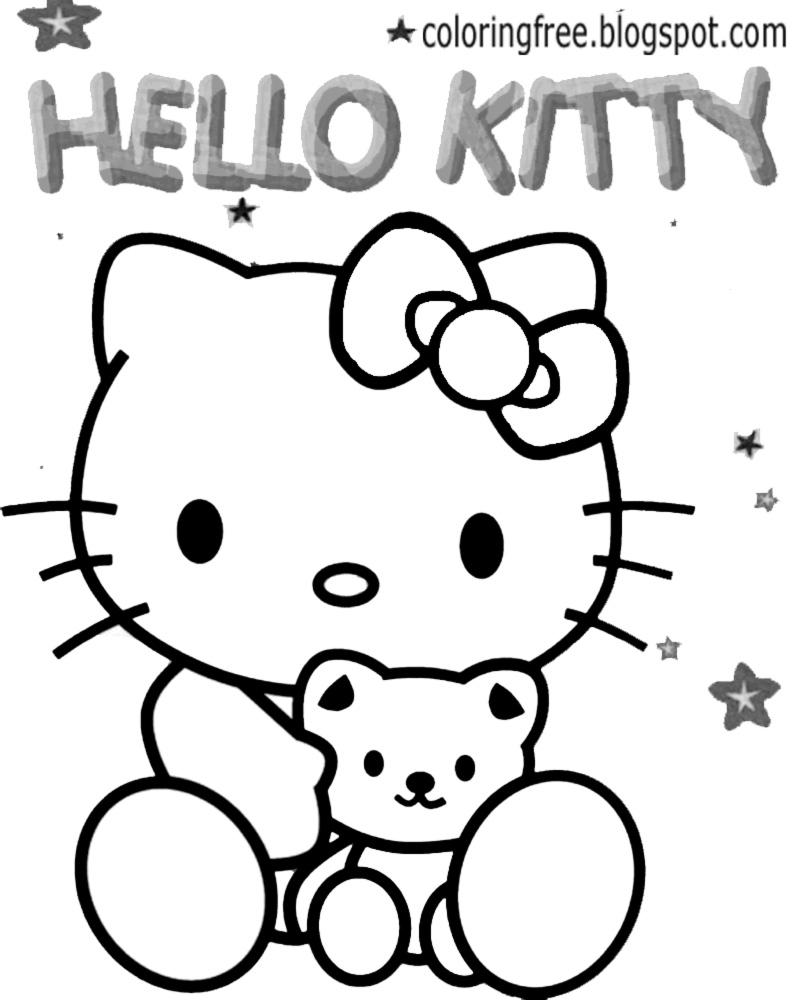 Easy To Color Hello Kitty Soft Toy Cute Teddy Coloring Sheets Appealing Printables For Teenage Girls