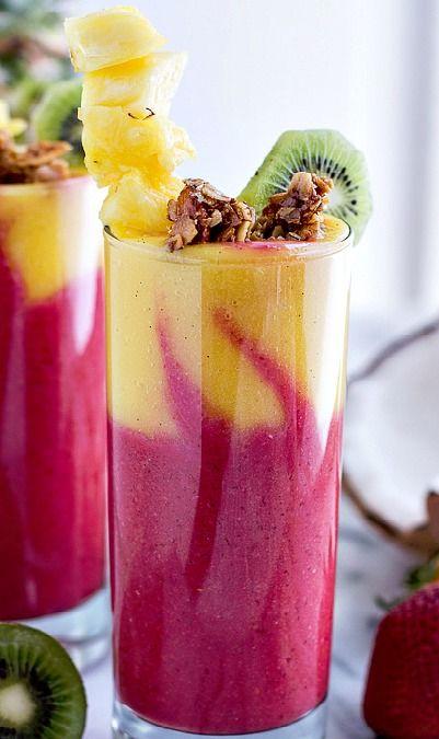 tropical fruit breakfast smoothie.