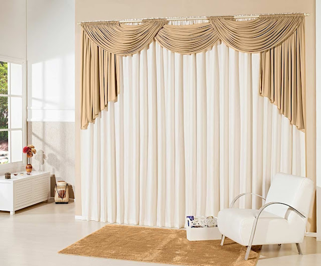modern white curtains with golden valences