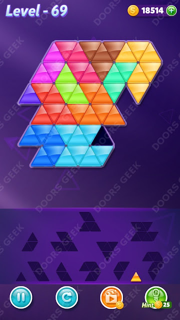Block! Triangle Puzzle 12 Mania Level 69 Solution, Cheats, Walkthrough for Android, iPhone, iPad and iPod