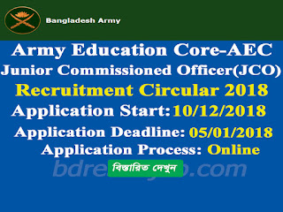 Army Education Core-AEC JCO Recruitment Circular 2018