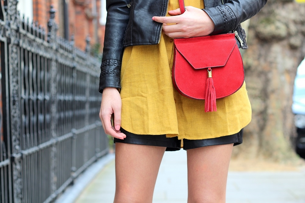 mustard longline shirt red crossbody bag