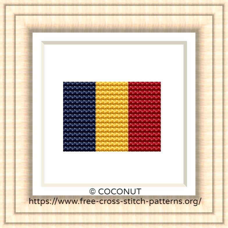 NATIONAL FLAG OF CHAD CROSS STITCH CHART