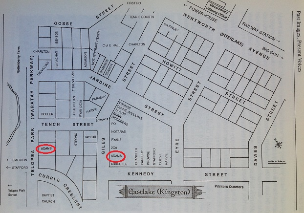 Map of Eastlake (Kingston) with early residents and shop owners marked out. The Adams Home and Shop are circled in red. Source: Emerton, page 172