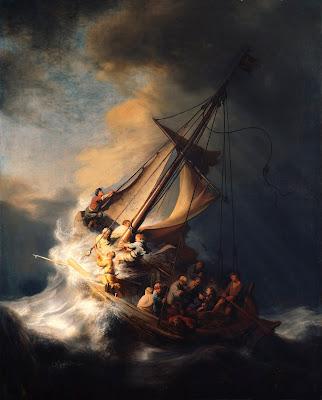 Imagem de Jesus Cristo com os discípulos na barca na tempestade, pintura, #1