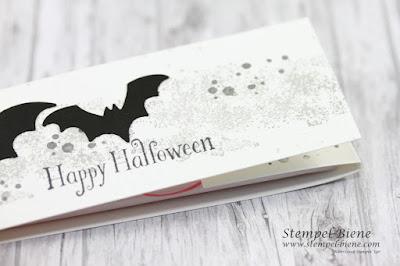 Halloweengoodies; Halloweenideen; Halloweenparty; Gastgeschenke basteln, Fledermausstanze; Stampinup Unheimlich Lecker; Stempel-Biene