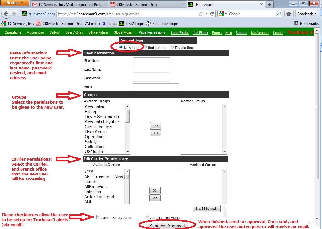 Truckman 3 Information Blog User Access Request within Truckman3