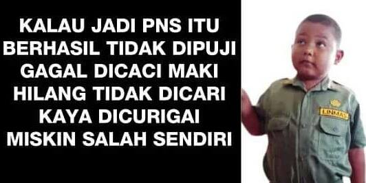 Meme tentang PNS. Foto : Facebook. https://www.facebook.com/photo.php?fbid=10207131131057992&set=a.2451202600778.2109667.1273393532&type=3