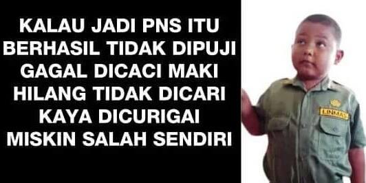 Meme tentang seorang PNS. Foto : Facebook. Foto : Facebook. https://www.facebook.com/photo.php?fbid=10207131131057992&set=a.2451202600778.2109667.1273393532&type=3