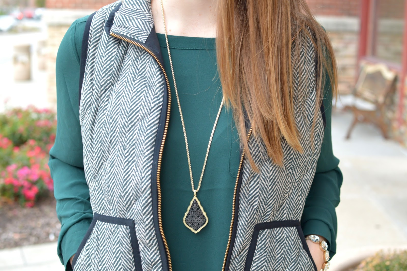 j.crew herringbone vest with a kendra scott necklace