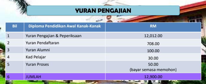 Struktur jumlah yuran kursus Diploma Pendidikan Awal Kanak-Kanak UPSI