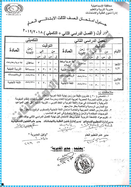 جداول امتحانات محافظة الاسماعيلية 2019 ( الابتدائية و الإعدادية والصف الثانى الثانوى )أخر العام