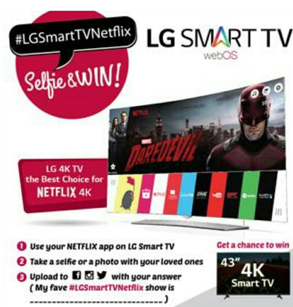 a chance to win a lg 4k ultra hd smart tv in lg smart tv netflix promo. Black Bedroom Furniture Sets. Home Design Ideas