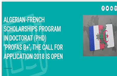 "Algerian-French Scholarships Program in Doctorat (PhD) ""PROFAS B+"" 2018"
