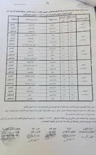 جدول امتحانات الصف الثالث الاعدادى محافظة الاقصرالترم الثانى 2017