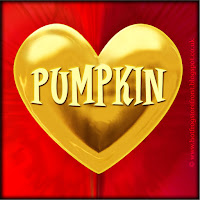 'Pumpkin' text on gold heart free image for texting